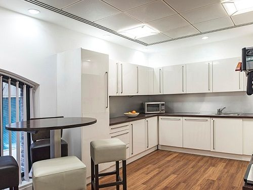 Managed office space London kitchen